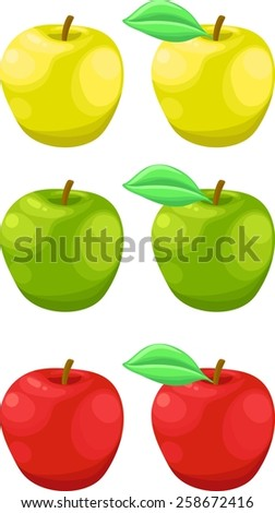 Delicious fresh ripe yellow, red, green apples with leaves. Isolated - stock vector