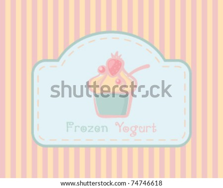 Delicious frozen yogurt or ice cream cup on retro background - stock vector