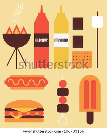 Delicious hot and cold summer food - stock vector