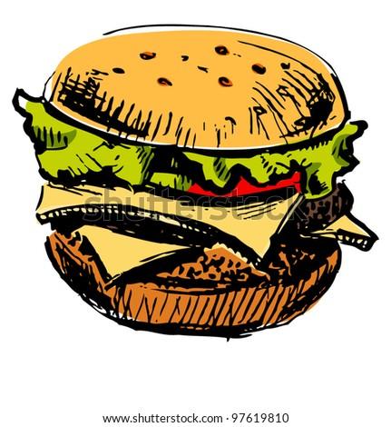 Delicious juicy burger. Sketch vector illustration - stock vector