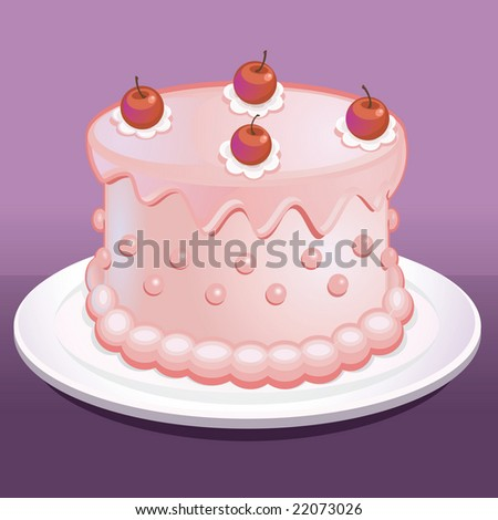 Delicious Pink Cake - stock vector