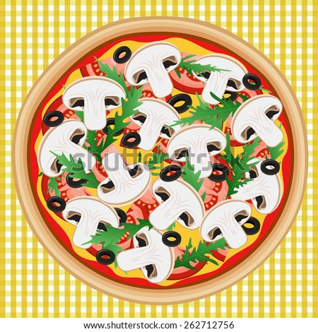 Delicious pizza with mushrooms. Vector image can be used for menu or food posters design, cards and other crafts. - stock vector