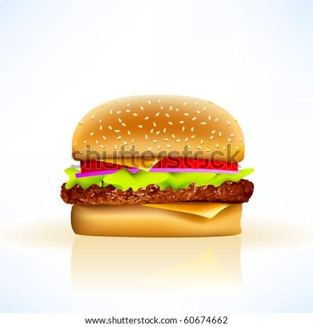delicious vector cheeseburger - stock vector