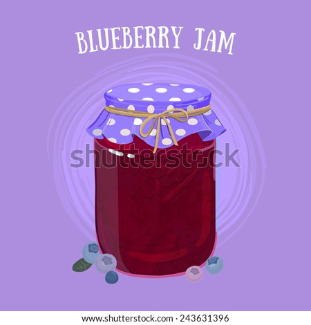 Delicious vegan jam in a jar, made of ripe juicy blueberry covered with textile cap. - stock vector