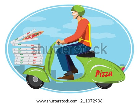 Deliver pizza - stock vector
