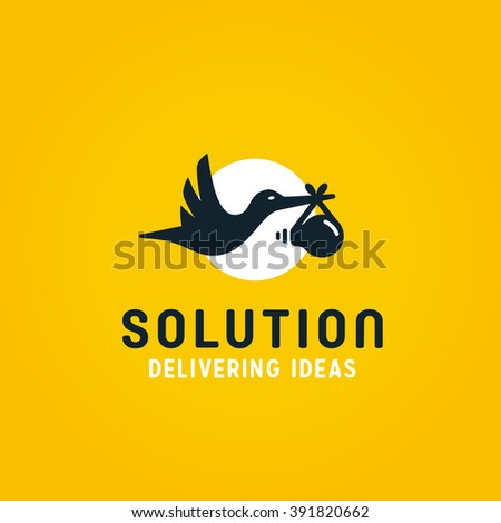 Delivering Ideas. Stork Bird Carrying Lightbulb Baby. Represents the Concept of Birth of Idea, Intelligence, Fresh Solutions etc. Conceptual Minimal Simple  Symbol. Memorable Visual Metaphor. - stock vector