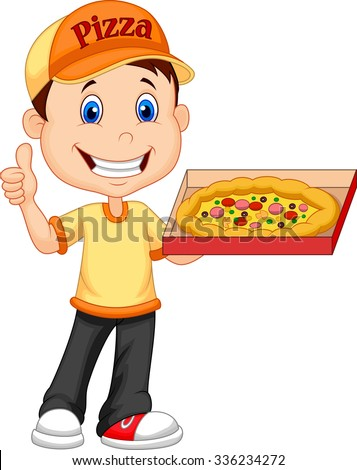 Delivering pizza. thumb up of cheerful young delivery man holding a pizza box while isolated on white background   - stock vector