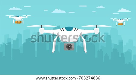 Delivery aerial drone with package service on city background and camera taking photography and video. Transport concept of drones.
