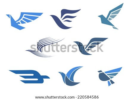 Delivery and shipping symbols with abstract stylized flying bird isolated on white, for fast delivering concept design - stock vector