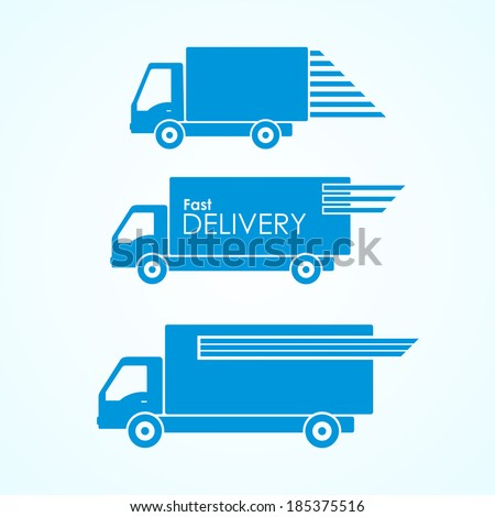 Delivery blue van icons collection  - stock vector