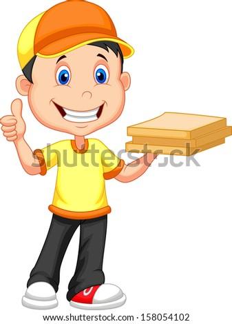 Delivery boy bringing a cardboard pizza box - stock vector