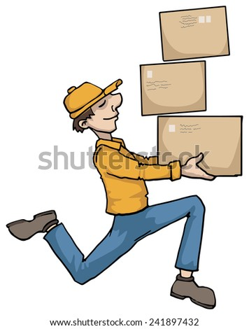 delivery boy carrying boxes, vector illustration