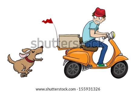 Delivery boy on a scooter running away from angry chasing dog, vector illustration - stock vector