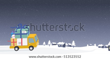 Delivery car with bunch of christmas gifts driving around a small village covered with snow.
