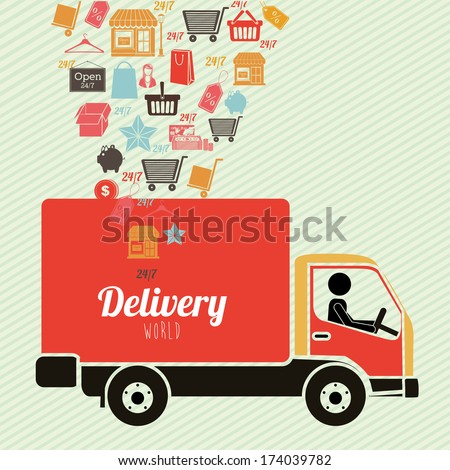 delivery design over lineal background vector illustration - stock vector