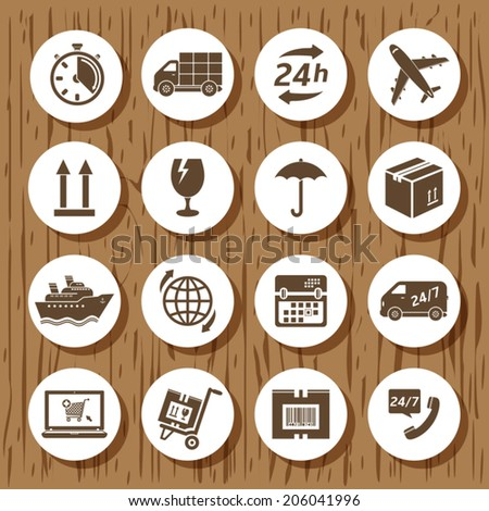 Delivery icon set - stock vector