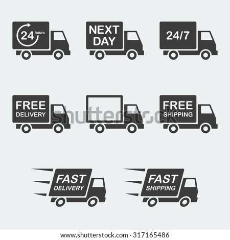 delivery icon set. next day delivery, free delivery and fast delivery, free shipping and fast shipping, 24/7 and 24 hour delivery. vector illustration - stock vector