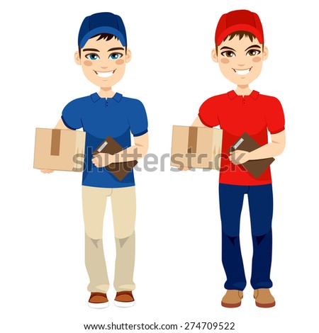 Delivery man carrying mail package and holding portfolio on two different version - stock vector