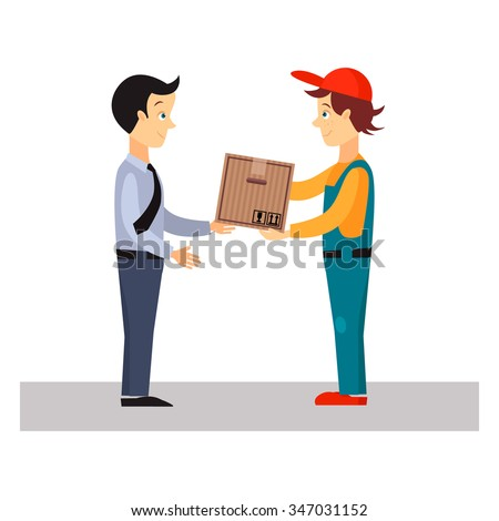 Delivery Man Gives Package, Flat Vector Illustration  - stock vector