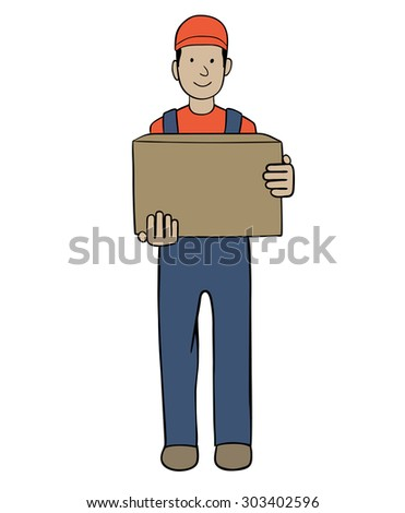 delivery man holding a cardboard box - stock vector
