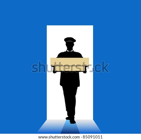 Delivery man with box in hands on blue background - stock vector