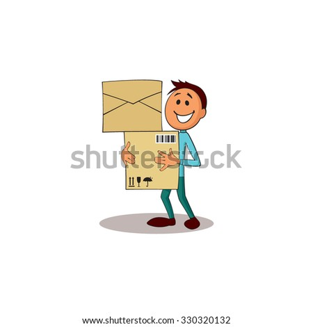 Delivery man with boxes. - stock vector