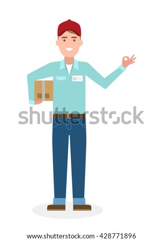 Delivery man with parcel and ok gesture. Fast transportation. Isolated cartoon character on white background. Postman, courier with package and ok. - stock vector