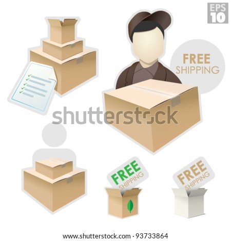 Delivery man with shipping box, packages with checklist invoice, free shipping - stock vector