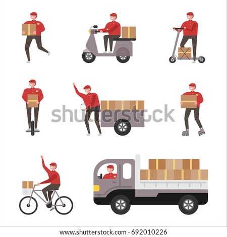Delivery of various vehicles vector illustration flat design