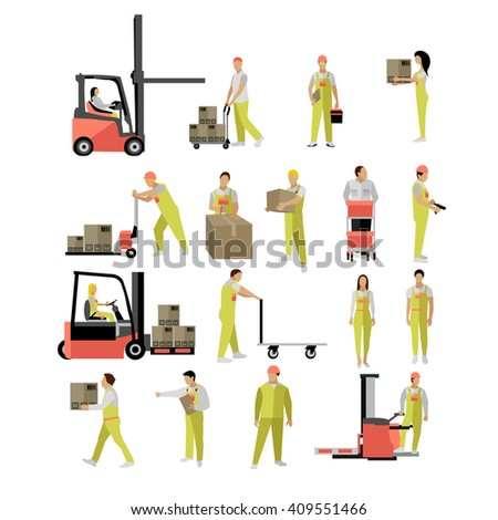 Delivery people silhouettes. Logistic and transportation icons isolated on white background. Vector illustration in flat style design. Delivery man working in warehouse and shipping products. - stock vector