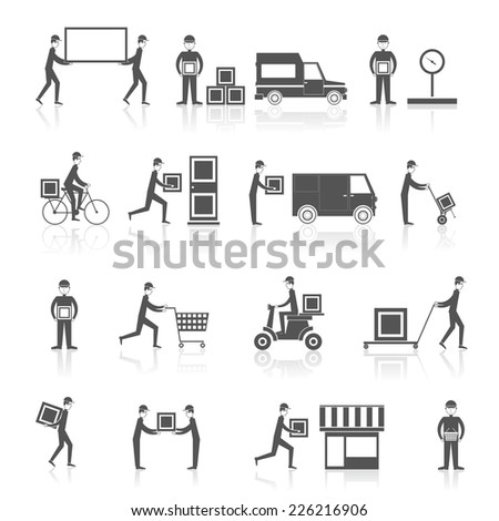 Delivery person with parcel box cart motorbike icons black set isolated vector illustration - stock vector