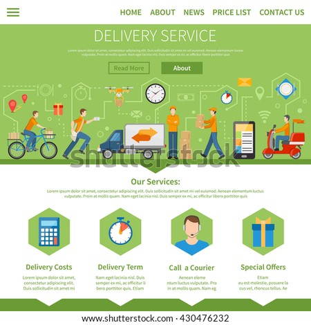 Delivery service and courier page with description of services including costs term special offers and call a courier flat vector illustration - stock vector