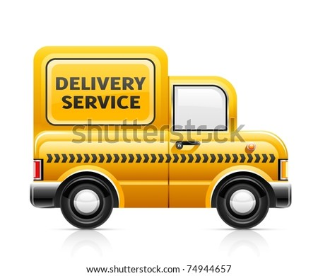 delivery service car vector illustration isolated on white background - stock vector