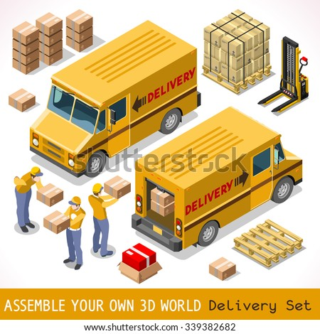 Delivery Service Chain Elements Collection. NEW bright palette 3D Flat Vector Icon Set. Yellow box package worldwide shipping carried by Courier man of Postal Service Yellow Van. Express home delivery - stock vector