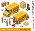 Delivery Service Chain Elements Collection. palette 3D Flat Vector Icon Set. Yellow box package worldwide shipping carried by Courier man of Postal Service Yellow Van. Express home delivery - stock photo