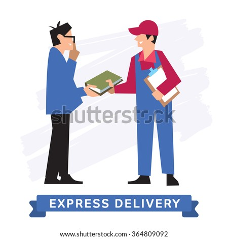 Delivery Service, Delivery into the hands. Delivery icon, delivery man. Delivery Order. Delivery man in overalls. Vector delivery illustration. Abstract Delivery situation. Delivery courier. Order. - stock vector