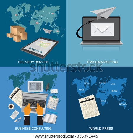 delivery service, email marketing, business consulting, world press, flat style, vector illustration, template  - stock vector