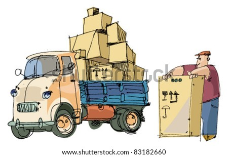 delivery service - lorry and loader - stock vector