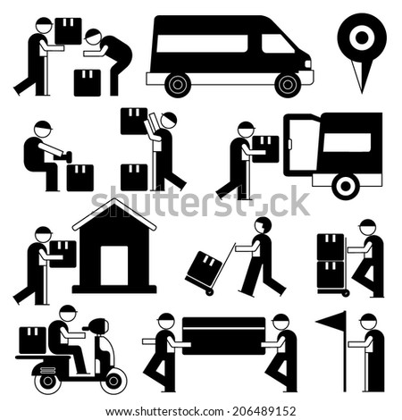 delivery service man icons, shipping service people set, black theme