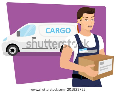 Delivery service man with a box in his hands and delivery car behind him. Contains EPS10 and high-resolution JPEG - stock vector