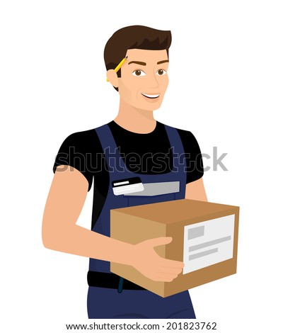 Delivery service man with a box in his hands. Contains EPS10 and high-resolution JPEG - stock vector