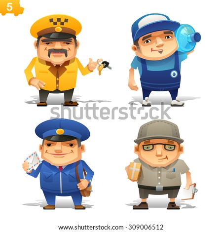 Delivery service professions set - stock vector