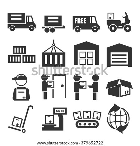 delivery, shipping, logistics icon set