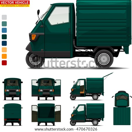 Delivery tricycle.  Doors can be opened, colors can be changed, the elements are in the separate layers.