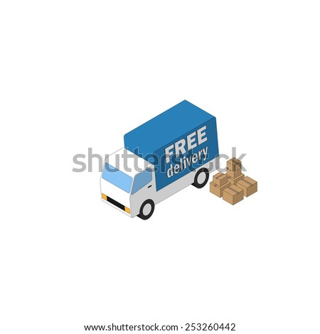 Delivery truck and carton boxes. Isometric icon. Vector - stock vector