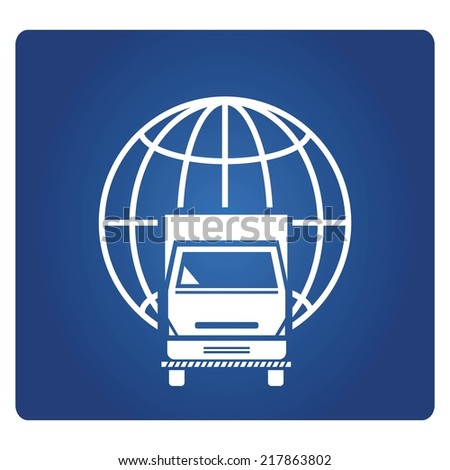 delivery truck and globe symbol, global transportation - stock vector