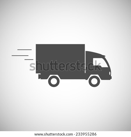 Delivery truck contour, flat icon. Editable vector illustration. - stock vector