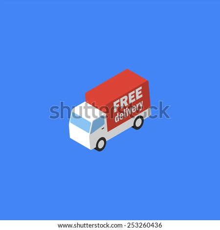 Delivery truck. Isometric icon. Vector eps10 - stock vector