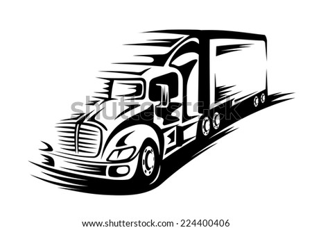 Delivery truck moving on road for transportation concept - stock vector