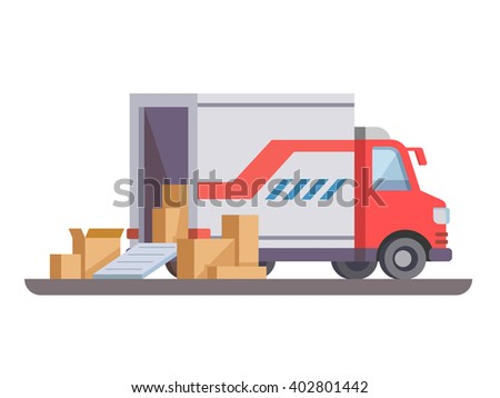 Delivery truck with box - stock vector